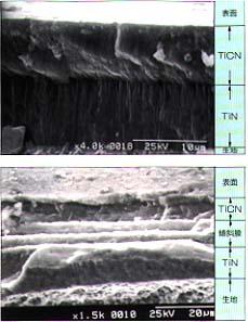 TiCN多層膜断面写真(例)
