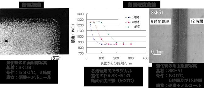 ラジカル窒化断面組織・断面硬度曲線